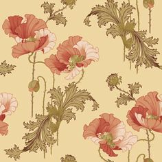 Scandinavian design wallpaper Vallmo from collection Karlslund by Borastapeter and Eco Wallpaper Fabric Wallpaper, Pattern Wallpaper, Wallpaper Ideas, Flower Patterns, Print Patterns, Pattern Print, Swedish Wallpaper, Art Nouveau, Ceiling Medallions