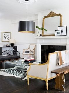 country, french, and modern integrated / black and gold home interior