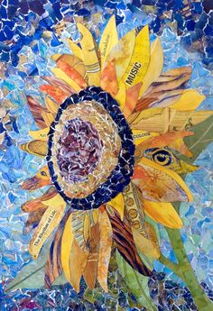 """Sunflower Symphony"" Recycled art. Collage created from prints of my own coloured pencil paintings. Kath Coleman."