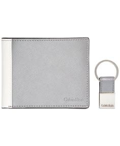 e5e850e863 Calvin Klein Saffiano Leather Two-Tone Bifold Wallet   Key Fob Leather  Wallet