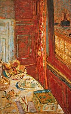 Pierre Bonnard- Still life with ships seen through window, c.1906