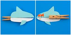 shark clothespin | Glue the shark body pieces to the clothespin, starting at the spring ...