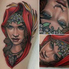 Neotraditional Red Riding Hood by me, Logan Bramlett, Wanderlust Tattoo Society Akron Ohio Ohio Tattoo, Red Tattoos, Akron Ohio, Red Riding Hood, Logan, Wanderlust, Internet, Community, Painting