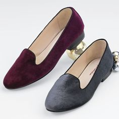 Joy Shoe by Stefani from Monroe and Main. Nothing purrs with cool, collected chic like this nicely padded velvet slip-on. Black piping around the top line adds elegance.