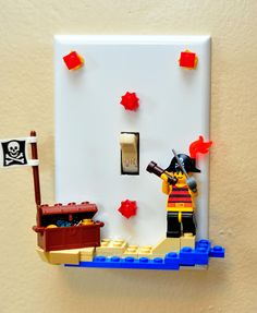 Lego Switchplate for pirate room Lego Bathroom, Lego Hacks, Lego Craft, Minecraft Crafts, Lego Projects, Lego Creations, Kids Bedroom, Boy Bedrooms, Boys Pirate Bedroom