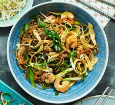 This authentic Korean noodle dish makes a delicious dinner party main course - to make it vegetarian, replace the prawns with pan-fried tofu