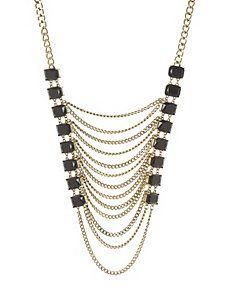 Stone & chain statement necklace