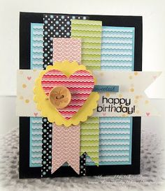 Created by Melissa using the July 2013 Card Kit by Simon Says Stamp. stamp, juli 2013, happy birthdays, pattern, color, button, birthday greetings, background, card