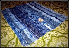This shows a floor mat, but I was thinking of strips for a funky denim quilt.