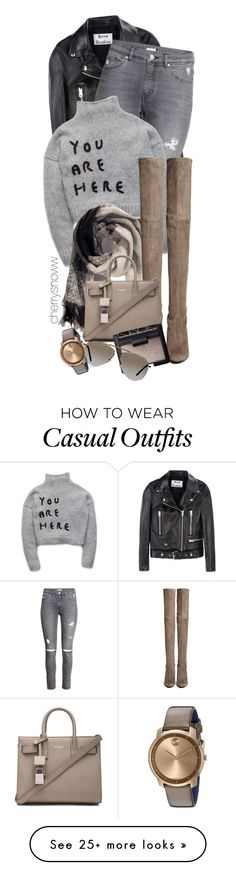 """""""Effortless edgy casual chic"""" by cherrysnoww on Polyvore featuring Acne Studios, H&M, Stuart Weitzman, Yves Saint Laurent, NARS Cosmetics, Tom Ford and Movado"""
