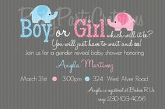 BABY ELEPHANT gender reveal baby shower by PrettyPartyCreations, $9.50