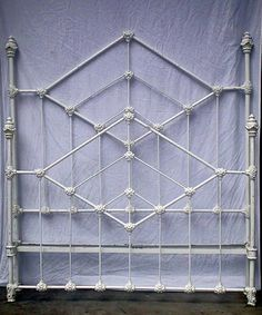 "The ""ultimate"" Deco Style frame w/ beautiful ""four poster"". circa 1880. #ironbeds #antiqueironbeds"