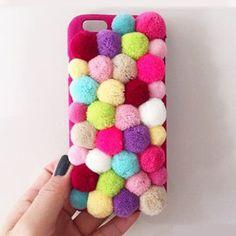 Handmade Soft Cell Phone Case Pom Pom Mirror Velvet Case Handphone Case Cover #PomPom