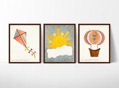 baby girl nursery decor, coral and gray nursery, gray and yellow nursery, kite, hot air balloon, sunshine nursery, set of 3, girls room art by PlayfulPaperwork on Etsy https://www.etsy.com/listing/228703645/baby-girl-nursery-decor-coral-and-gray