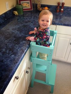 Toddler activity tower so you can have toddlers help you in the kitchen!