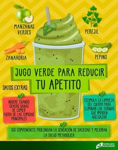Depura tu cuerpo y disminuye tu hambre con este rico batido verde ? EpDurate your body and reduce your hunger with this rich green smoothie ? Healthy Menu, Healthy Juices, Healthy Smoothies, Healthy Drinks, Healthy Tips, Smoothie Recipes, Healthy Recipes, Detox Recipes, Detox Verde