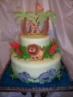 Jungle Baby Shower Cake   All mommies must visit www. upscale-mom.com for multi tasking magic!
