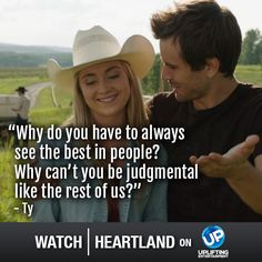 Watch Heartland Wednesdays at 8pm ET/PT on UP! One of the best shows I've ever watched, and for any age.  Great actors and story.  The writing is super.