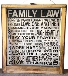 Vintage Upcycled Old Window with FAMILY LAW Lettering - Yellow Frame with Black Lettering