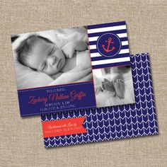 Birth Announcement, Nautical. This listing is for the digital file ONLY. The matching back can be added for an additional 3 dollars. on Etsy, $15.00