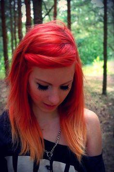hair hair color orange hair orange red red hair tips multi-colored hair Hair Orange, Orange Red, Orange Shades, Orange Color, Flame Hair, Corte Y Color, Hair Chalk, Bright Hair, Colorful Hair