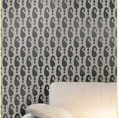 Wall Stencil Ikat Aynur reusable stencils by CuttingEdgeStencils