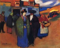 A spanish couple in front of inn by Pablo Picasso  Medium: pastel on paper
