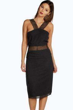 Mya Crochet Trim Detail Midi Dress.   dresslover.co.uk