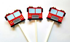 This listing is for (12) Firetruck Cupcake Toppers. These Cupcake Toppers would be perfect for a firetruck birthday, firetruck theme party,etc...