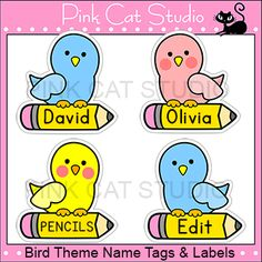 These fun bird name tags and labels will look fantastic in your classroom! This set is so versatile because you can make any labels that you want with the included blank labels and editable Powerpoint file. These would make great bin or basket labels, job cards, flash cards and name tags. By Pink Cat Studio