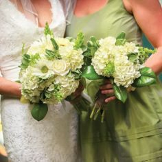 This lovely green and white wedding has a clean, soothing color palette.