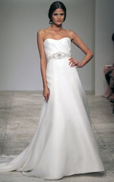 Strapless organza trumpet gown with beaded grosgrain belt