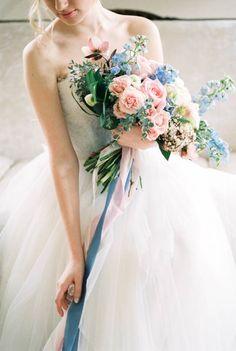 Blue Wedding Flowers Rose quartz and serenity wedding inspiration - Delphinium Wedding Bouquet, Blue Wedding Flowers, White Wedding Bouquets, Bride Bouquets, Flower Bouquet Wedding, Floral Wedding, Wedding Colors, Purple Wedding, Trendy Wedding