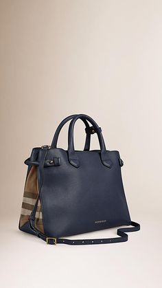 Burberry Ink blue The Medium Banner in Leather and House Check