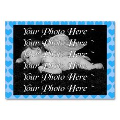 $29.95 per pack of 100 - It's a Boy! Baby Announcement Business Card - by RGebbiePhoto @ zazzle - Blue hearts with a blue background, add your newborn baby's photo to the front, personalize the back, and hand them out to your friends and family! Cute keepsake for a baby album, or for proud parents!