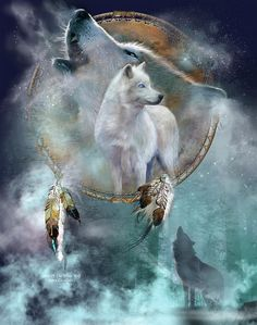 White Wolf Spirit by Carol Cavalaris. Prints available at Fine Art America. Wolf Spirit of freedom Your howl so primal and strong Saying you are here You are where you belong.  Spirit Of The White Wolf prose by Carol Cavalaris  This mixed media painting of two white wolves in a dream catcher, with one wolf standing alert and the background wolf howling, is from the Dream Catcher collection of art by Carol Cavalaris.