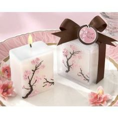 Cherry Blossom candles #cherryblossomparty #cherryblossomdecorations
