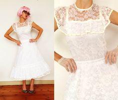 Vintage Lace Wedding Dress by TheLoveBucketSA on Etsy, $100.00
