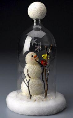 Snowman cloche from a soda bottle. ~ Mod Podge Rocks!