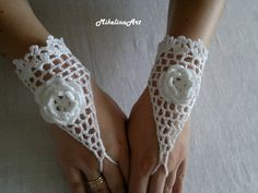 Crochet mariage gants mitaines au Crochet mitaines par MikelinaArt