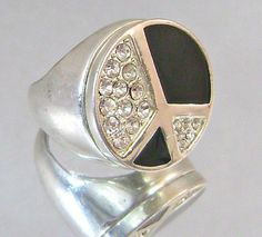Vintage Ring Peace Sign with Faux Diamonds and Black by waalaa, $29.99