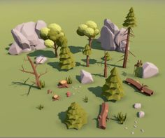 Low Poly trees rocks