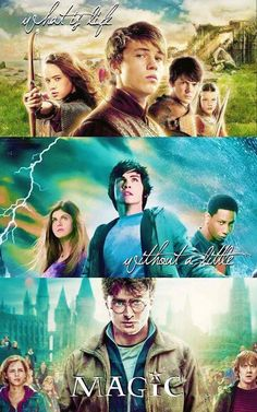 Narnia, Percy Jackson, and Harry Potter. Don't like movie Percy Jackson though Vampire Academy, Hunger Games, Maquillage Harry Potter, Citations Film, Tribute Von Panem, Fandom Quotes, Fandom Crossover, Harry Potter Crossover, Chronicles Of Narnia