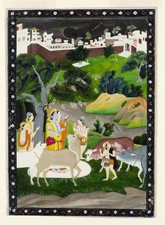 Radha and Krishna watching storm. Opaque watercolour on paper, India, Punjab Hills. probably Kangra, early 20th century, ... Radha and Krishna sheltering under a tree and gesturing towards the rain clouds.