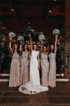 Sparkly Bridesmaid Dress, Winter Wedding Bridesmaids, Winter Bridesmaid Dresses, Different Bridesmaid Dresses, Bridesmaid Bouquets, Barn Wedding Dress, Cabin Wedding, Wedding Bells, Dream Wedding