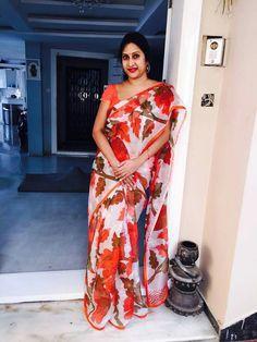 Madhuri Atluri Cotton Saree Designs, Blouse Designs, Saree Collection, Jewelry Collection, House Of Blouse, Embroidery Saree, Elegant Saree, Casual Saree, Saree Dress