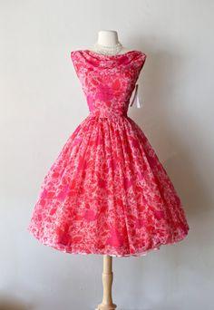 1950's Floral Chiffon Dress