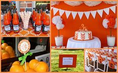 Totally Orange Party - and the fantastic idea of having sack lunches pre-made for the littles. Orange Birthday Parties, Orange Party, 3rd Birthday, Orange Wedding, Fun Party Themes, Birthday Party Themes, Party Ideas, Event Ideas, Birthday Ideas