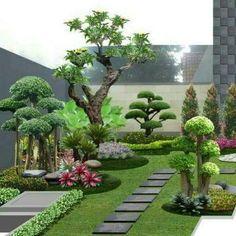 Small Garden Landscape Design, Modern Backyard Design, Rock Garden Design, Small Front Yard Landscaping, Landscaping With Rocks, Backyard Landscaping, Butterfly Garden Plants, Minimalist Garden, Garden Deco