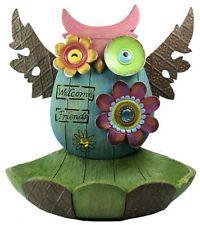 Bright & Colorful 'Welcome Friends' OWL Bird Feeder Garden Decoration Ornament